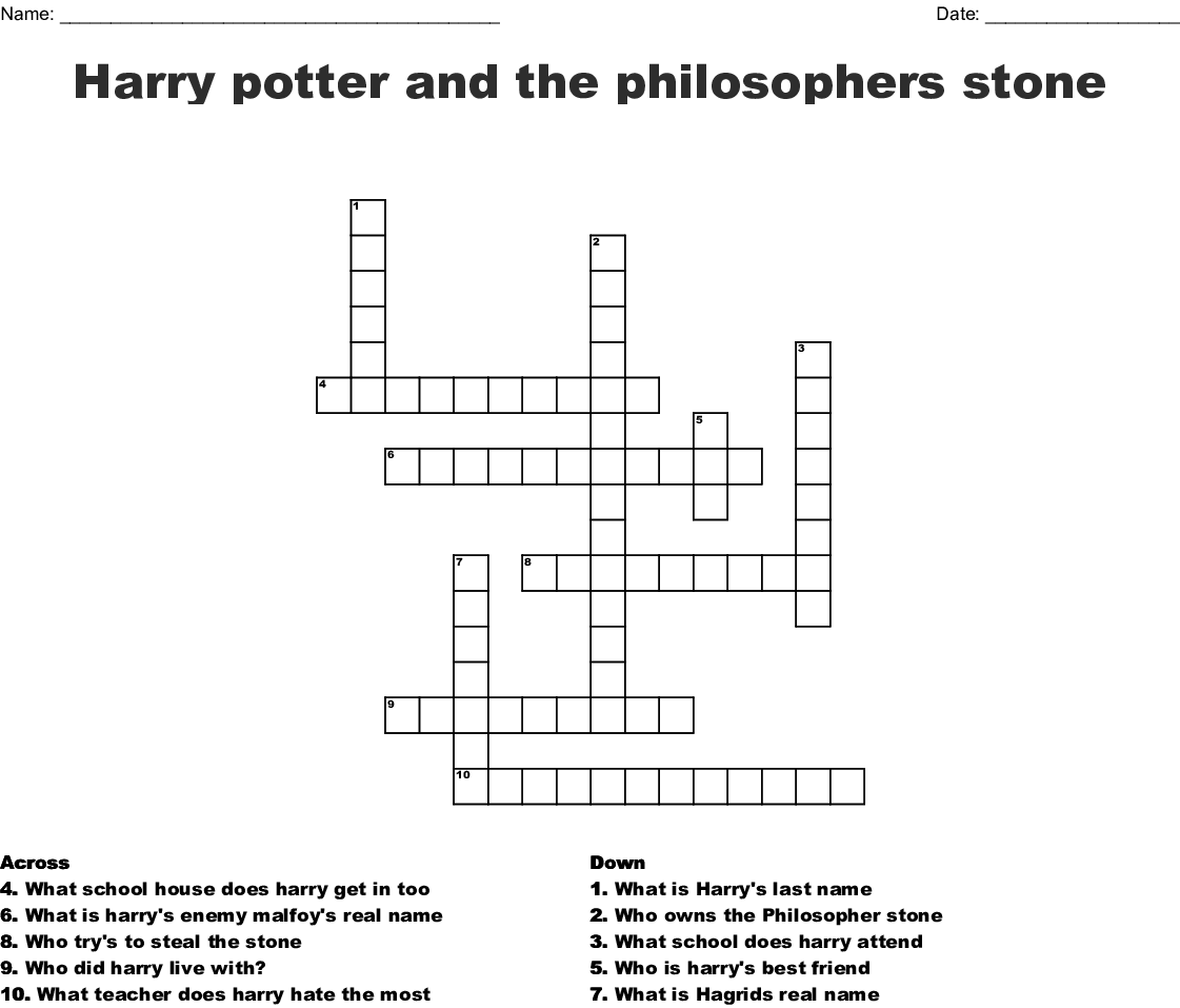 photo relating to Harry Potter Crossword Printable known as Harry potter and the philosophers stone Crossword - WordMint