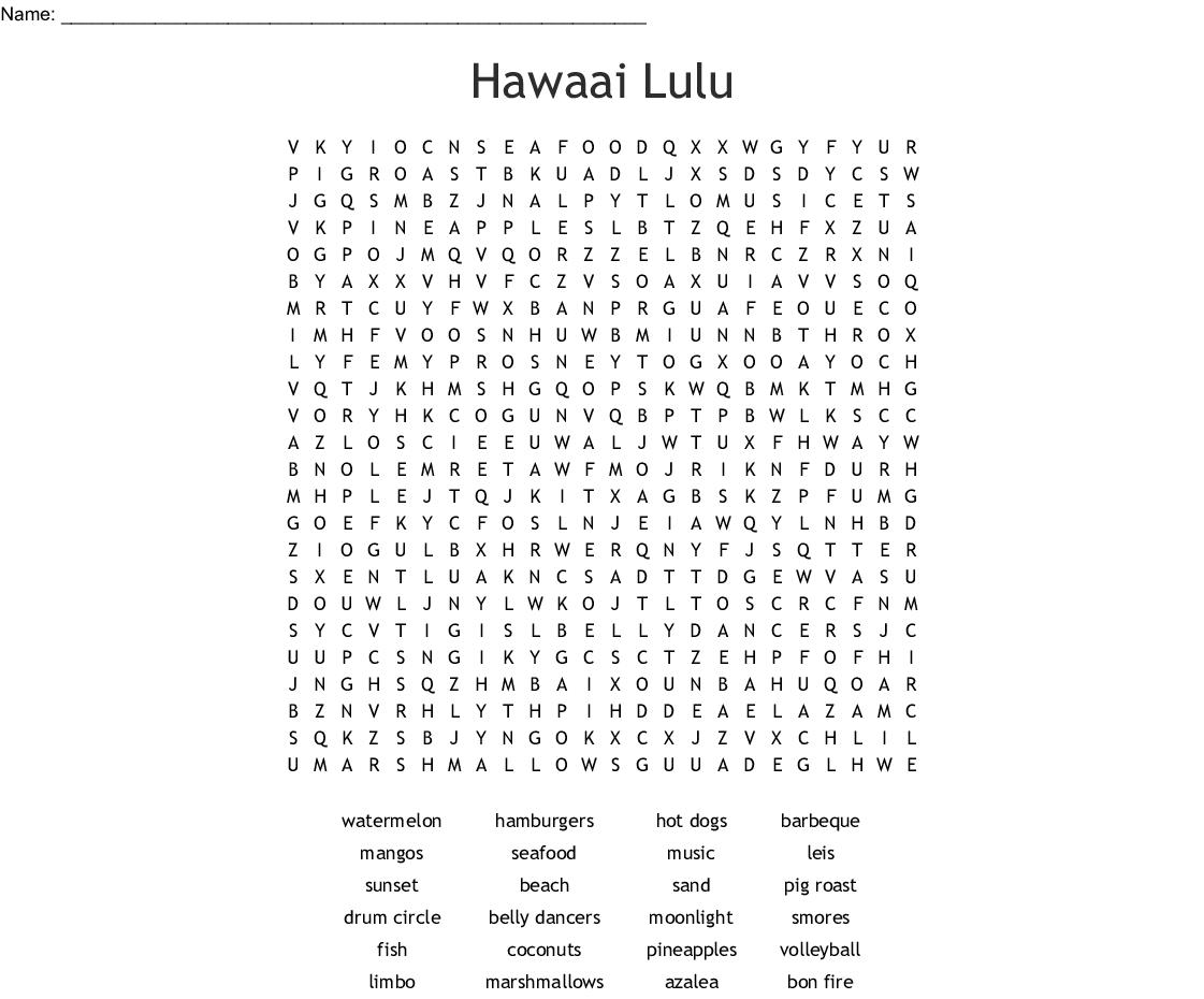 hawaiian luau Word Search - WordMint