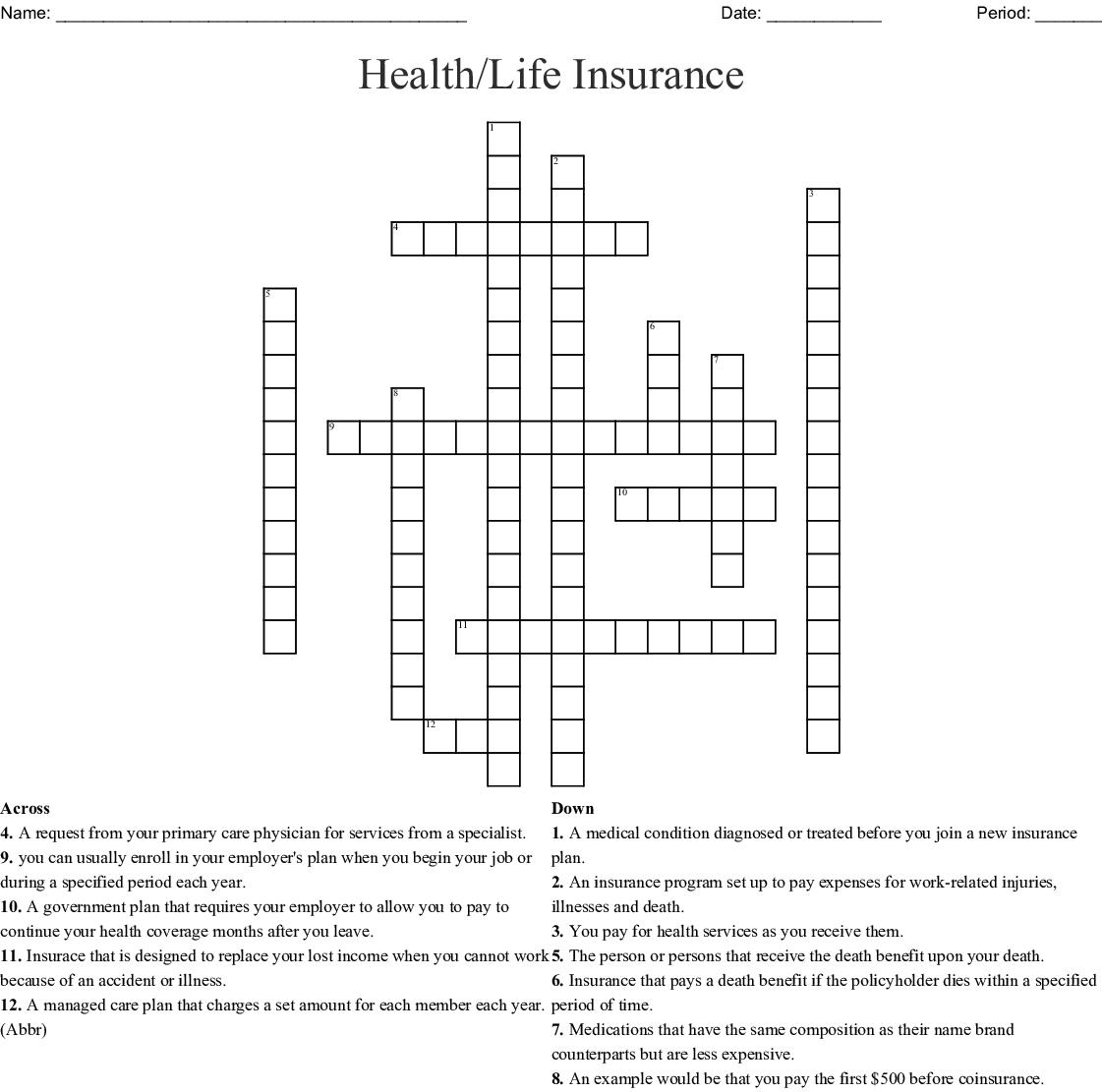 Health Life Insurance Crossword Wordmint