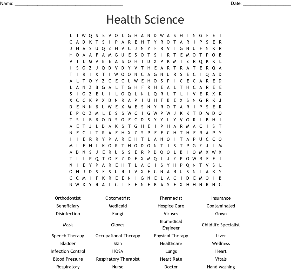 Health Science Word Search Wordmint