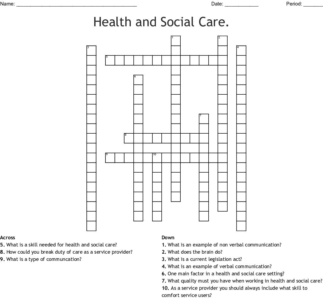 Health And Social Care Crossword Wordmint