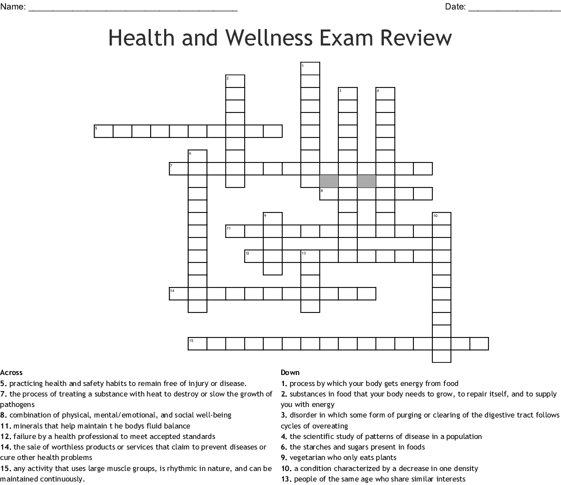 Health And Wellness Exam Review Crossword