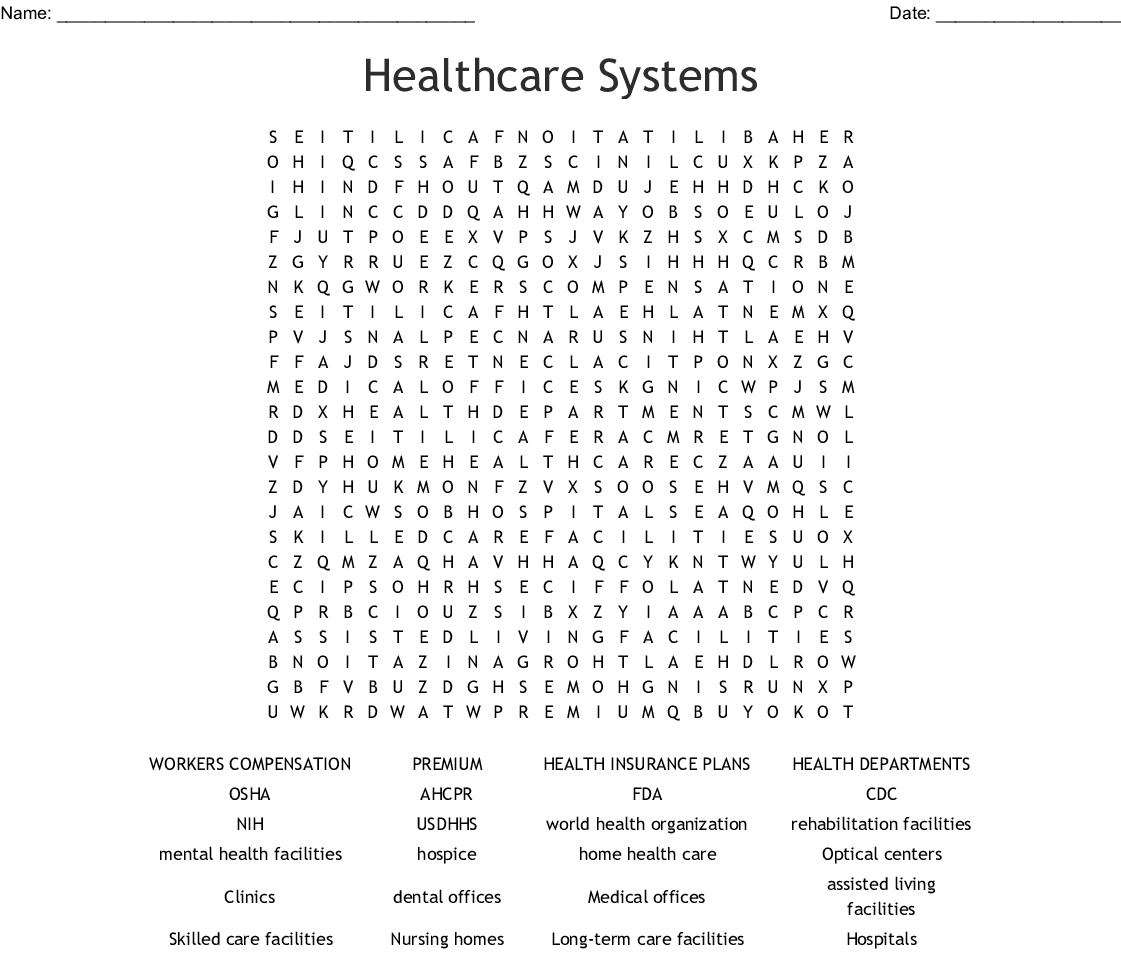 Health Care Systems Word Search Wordmint
