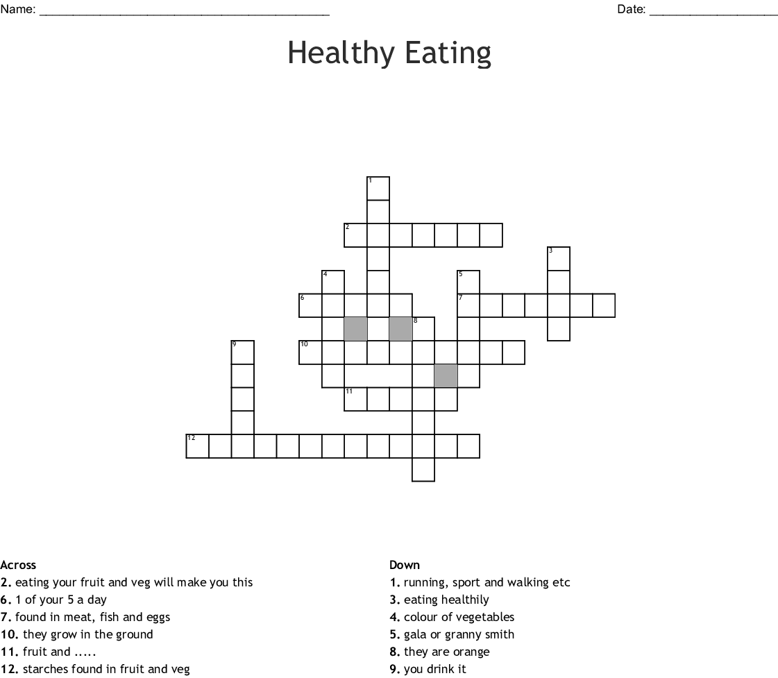 Healthy Eating Crossword Wordmint