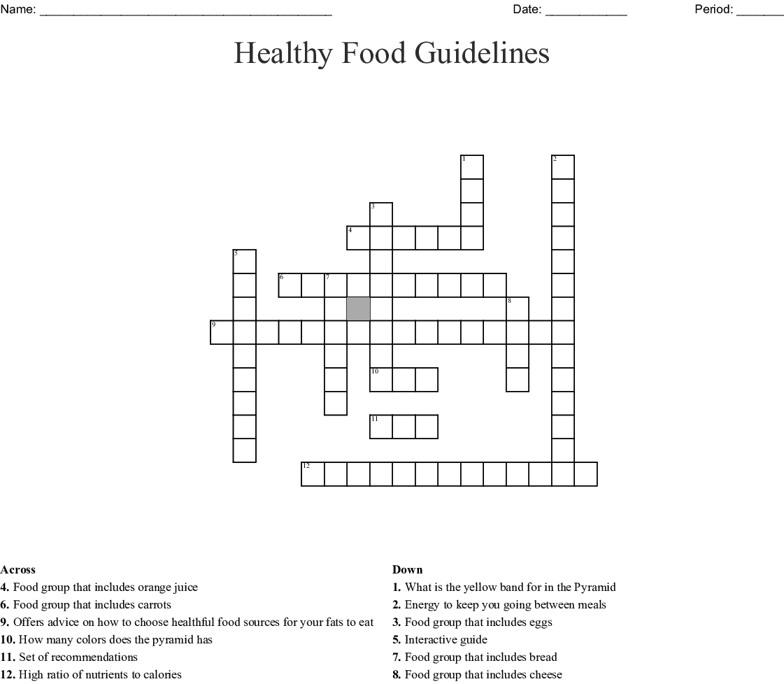 Healthy Food Guidelines Crossword Wordmint