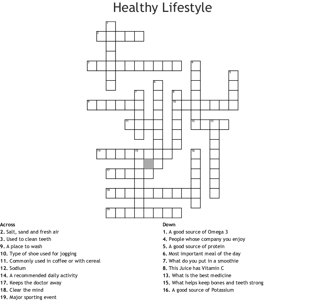 Healthy Lifestyle Crossword Wordmint