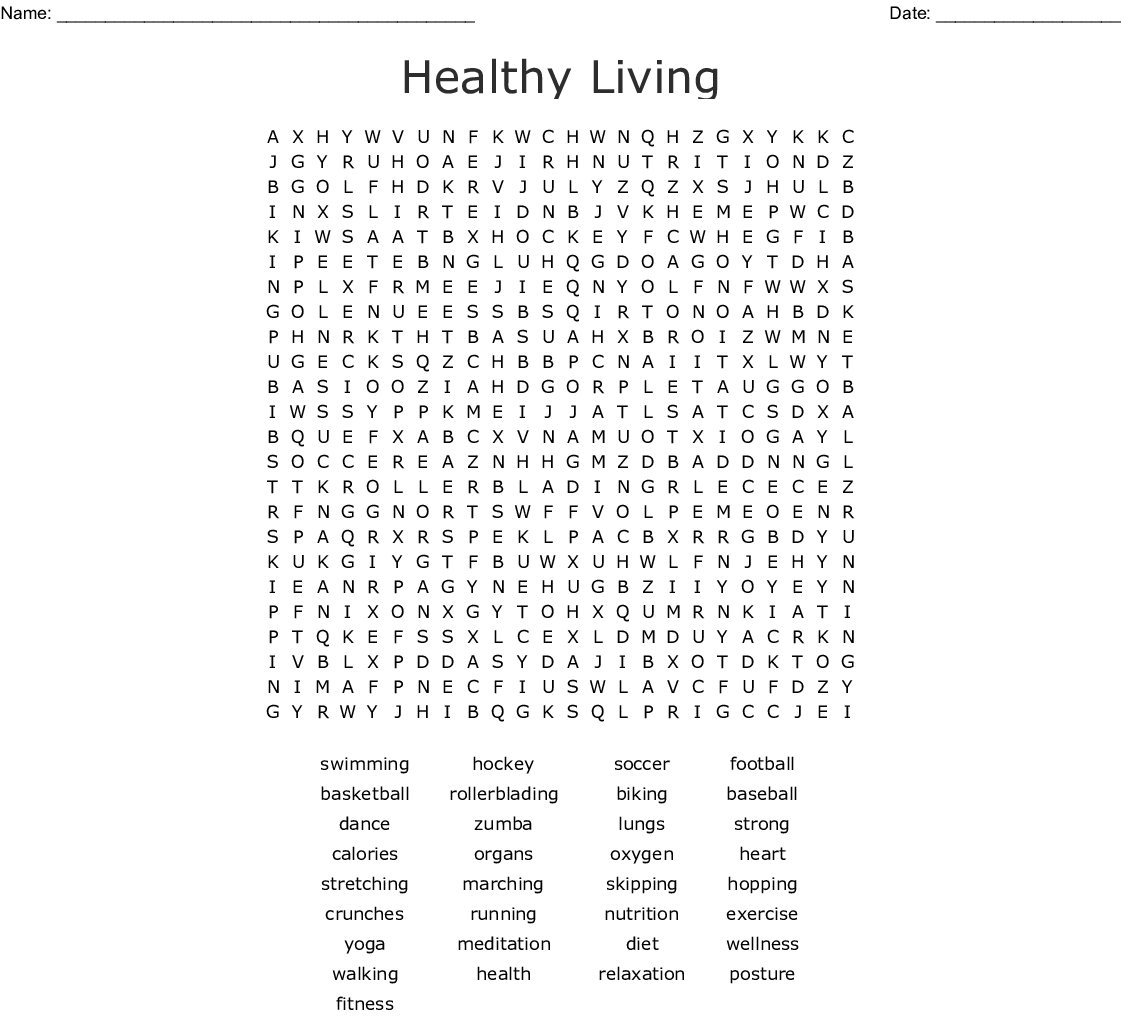 Healthy Living Word Search - WordMint