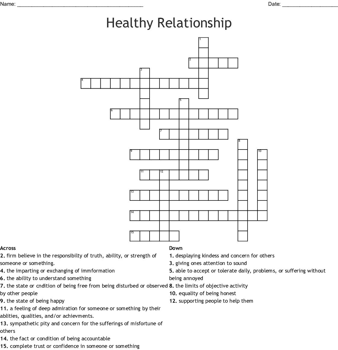 Healthy Relationships Crossword Wordmint