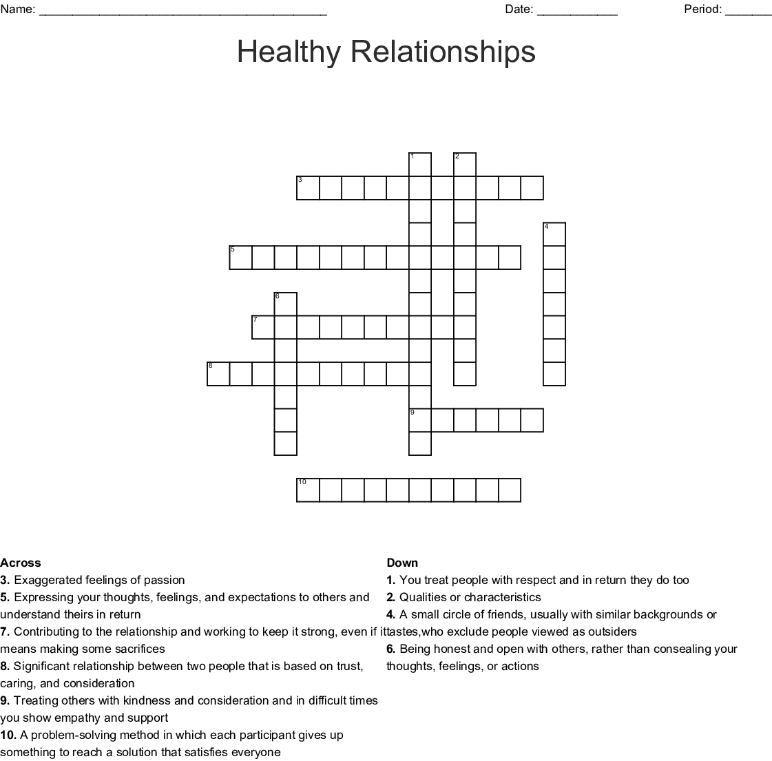 Healthy Relationships Crossword Wordmint