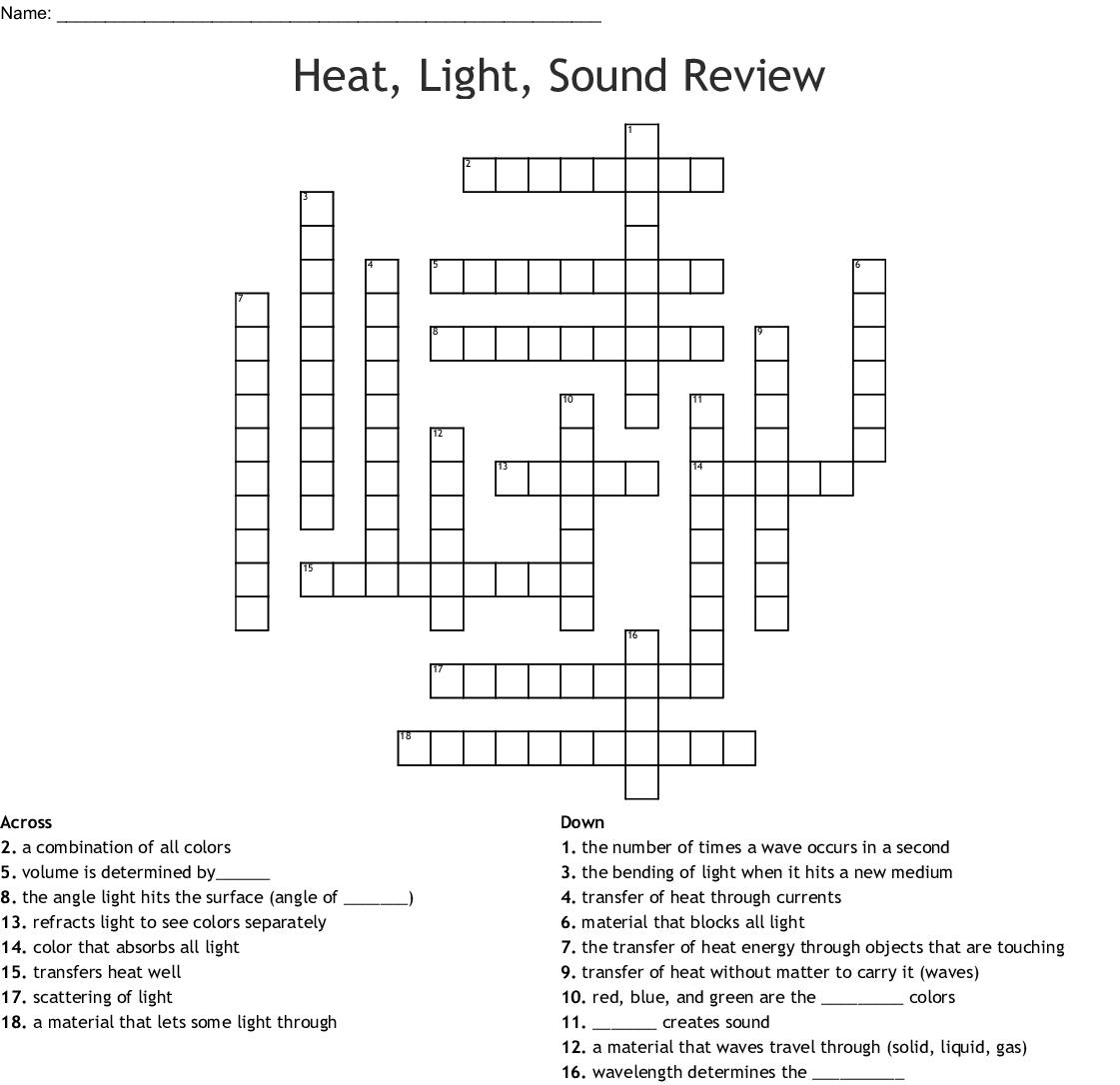 Heat Light Sound Review Crossword Wordmint