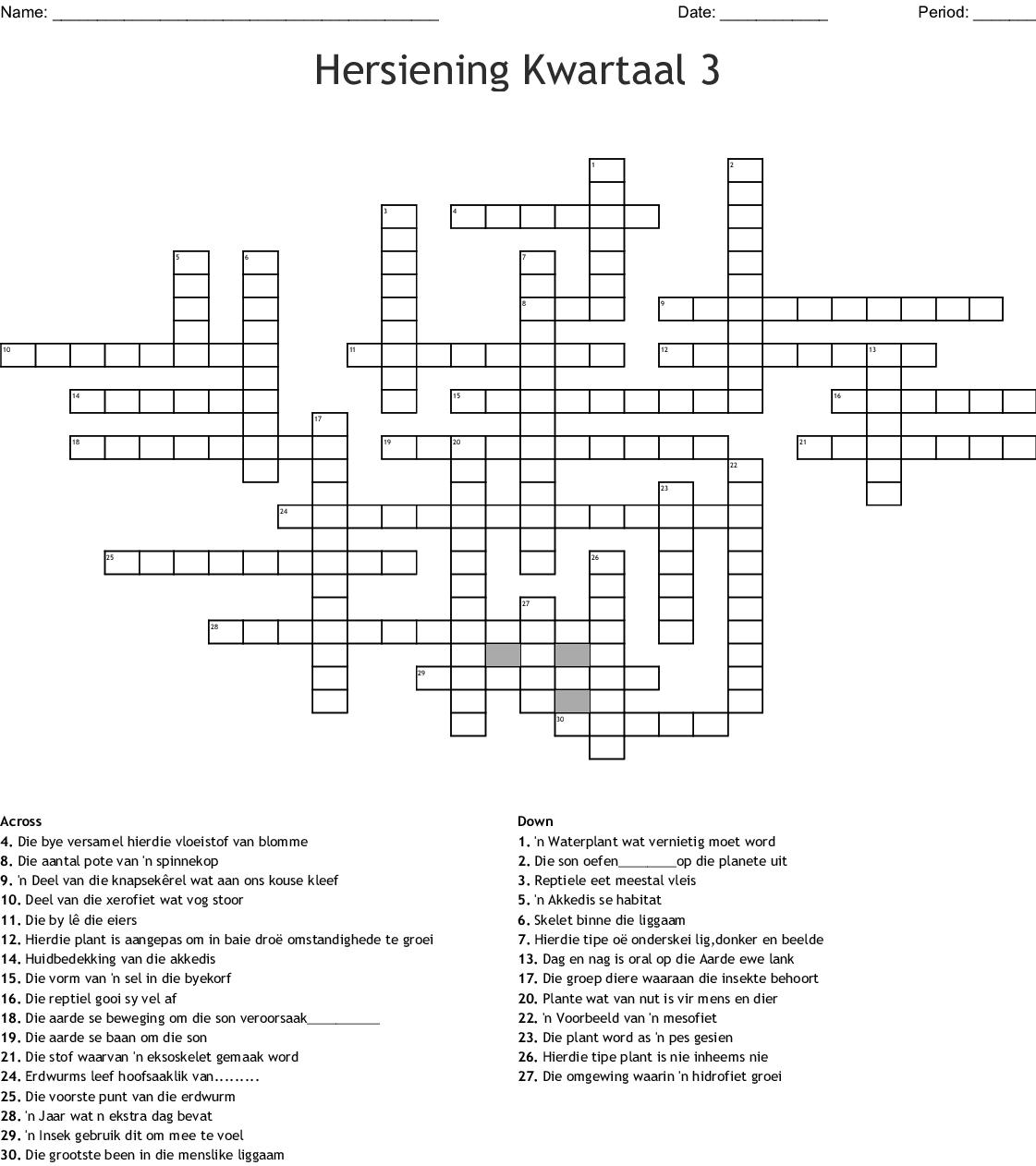 Hersiening Kwartaal 3 Crossword - WordMint