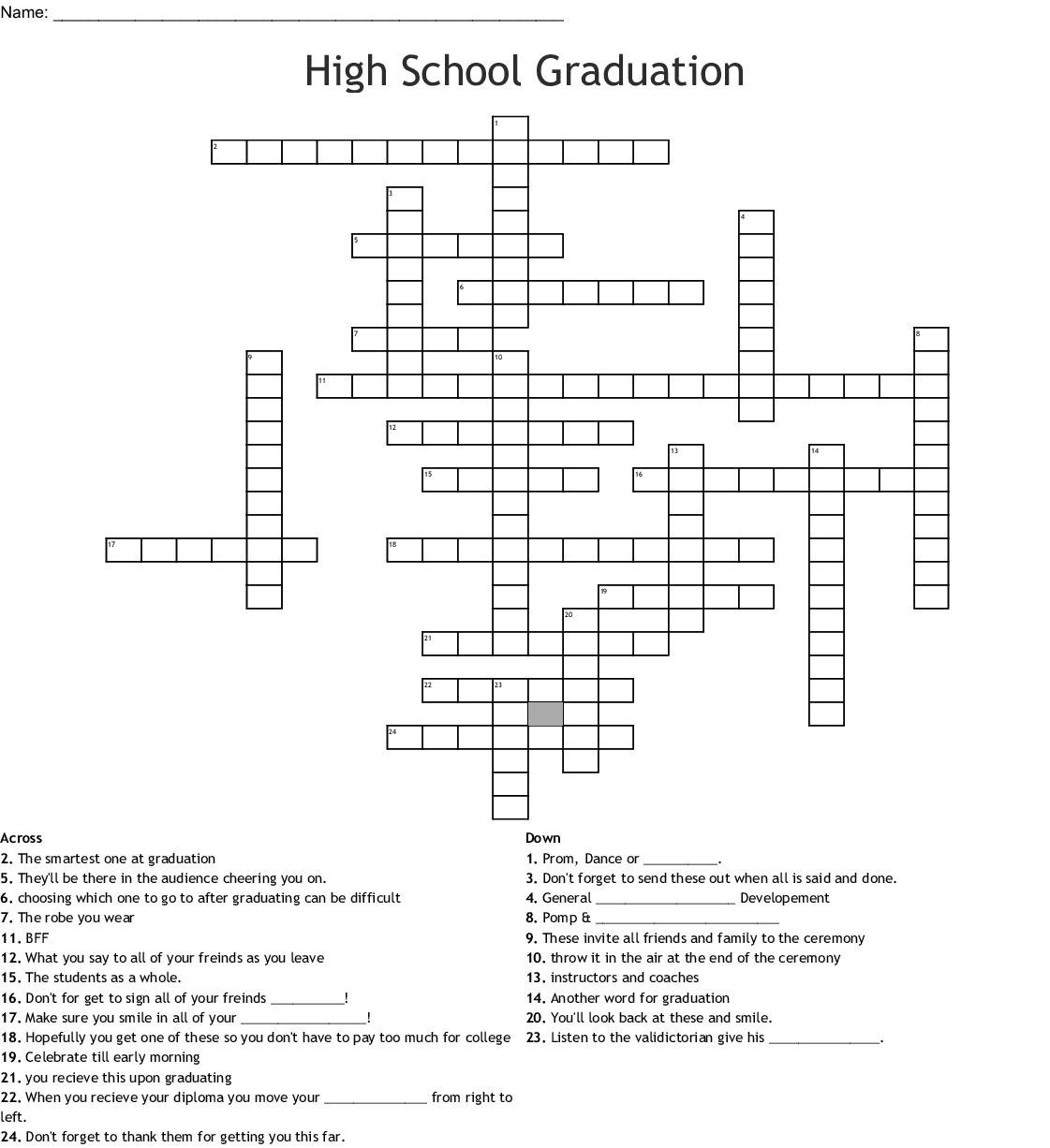 photo about Back to School Crossword Puzzle Printable referred to as Superior College or university Commencement Crossword - WordMint