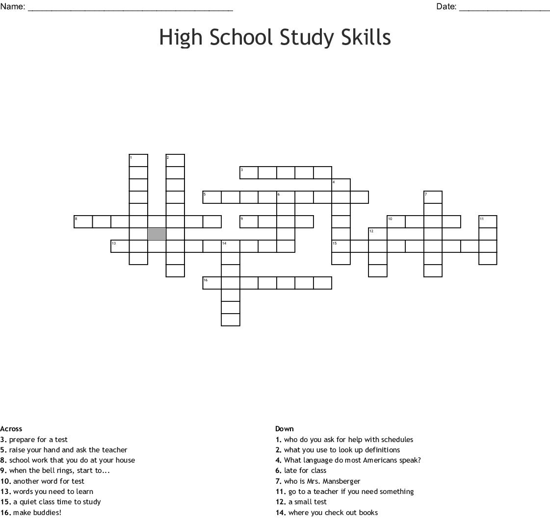 High School Study Skills Crossword Wordmint