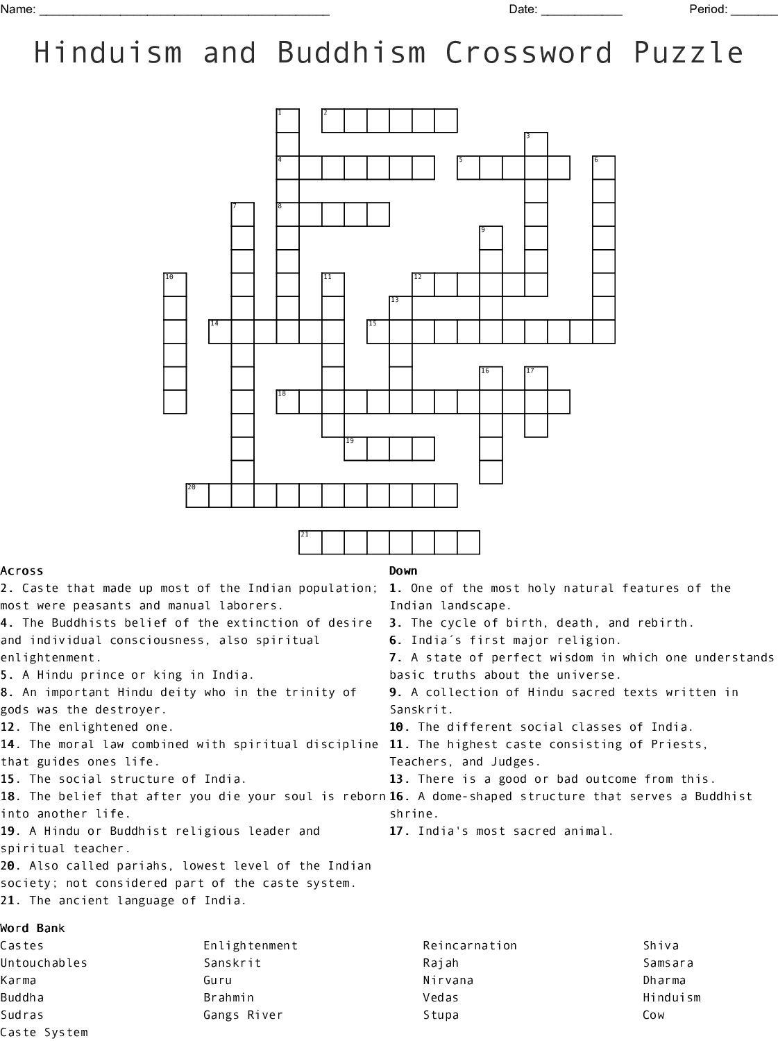 Hinduism And Buddhism Crossword Puzzle Wordmint