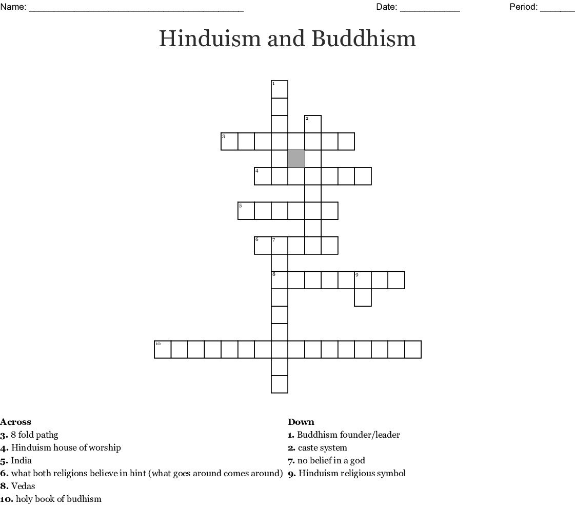 Hinduism And Buddhism Crossword Wordmint