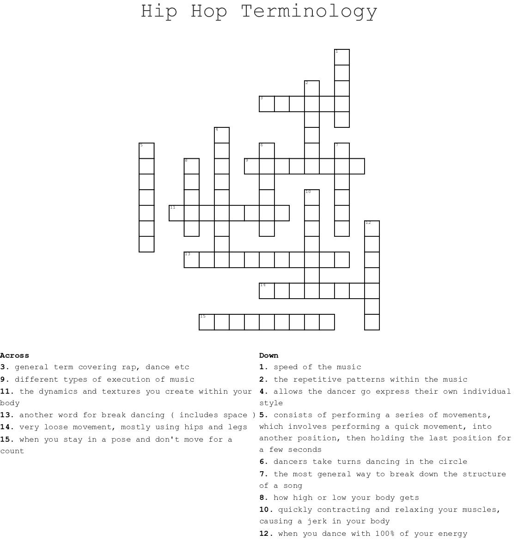 Dance Trivia Crossword Wordmint