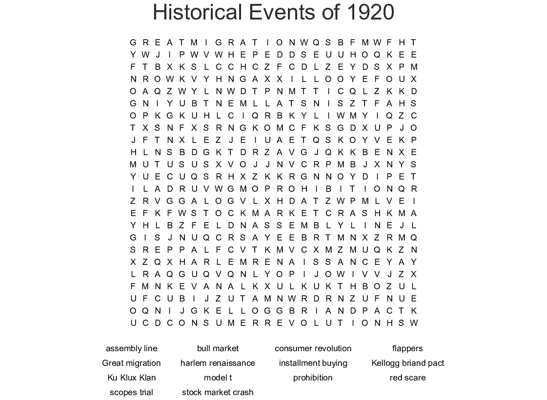 Historical Events of 1920 Word Search - WordMint