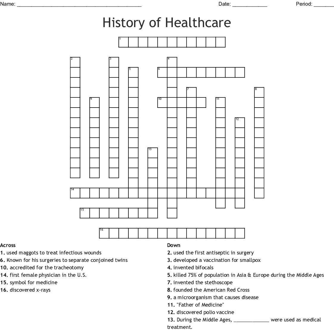 History of Healthcare Crossword - WordMint