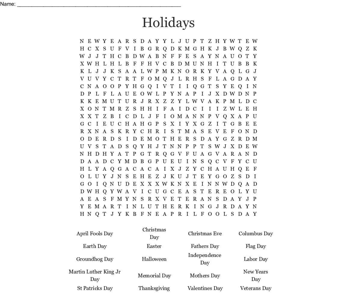 image about Groundhog Day Word Search Printable identify Vacations Phrase Look - WordMint