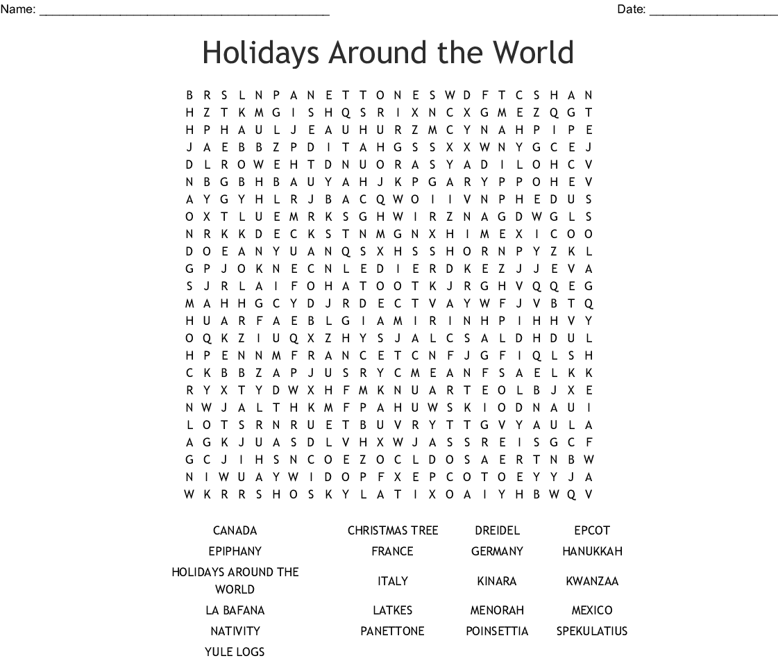 Fabulous Holidays Around The World Word Search Wordmint Home Interior And Landscaping Spoatsignezvosmurscom