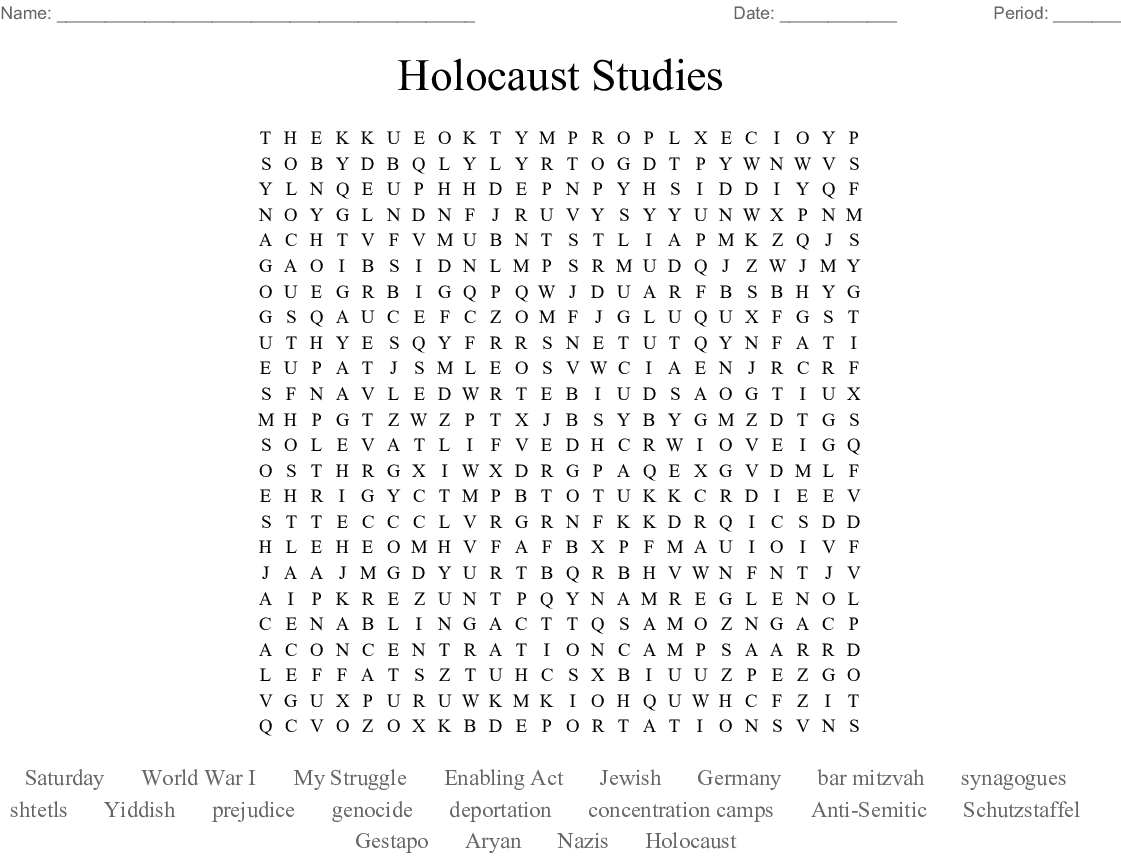 Holocaust Studies Word Search - WordMint
