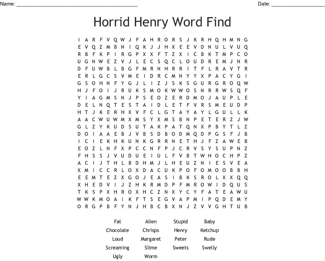 Horrid Henry Word Find Word Search Wordmint