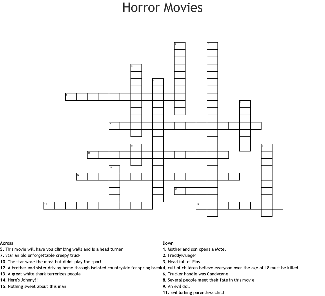 It is an image of Printable Movie Crossword Puzzles pertaining to beginner