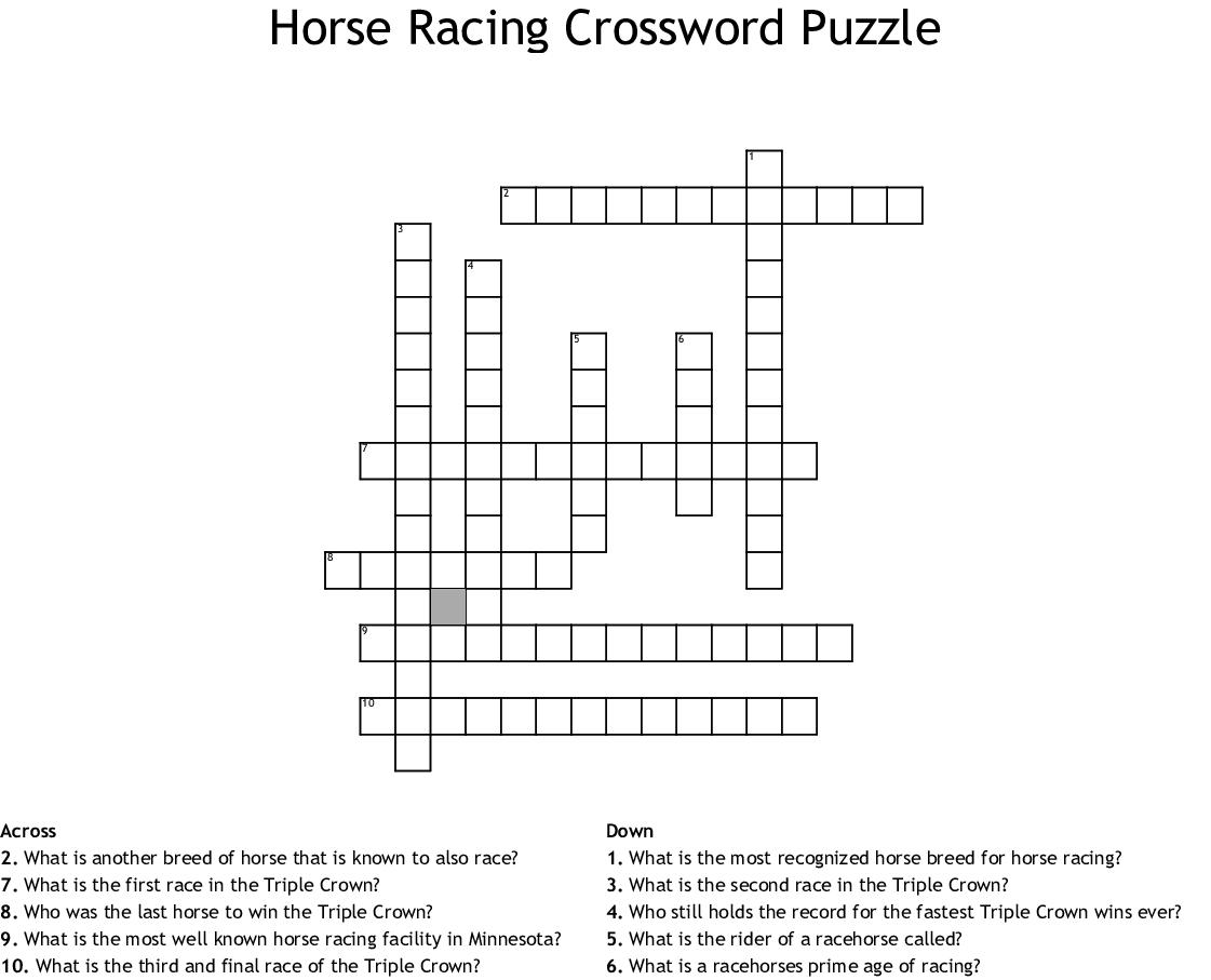Horse Racing Crossword Puzzle Wordmint