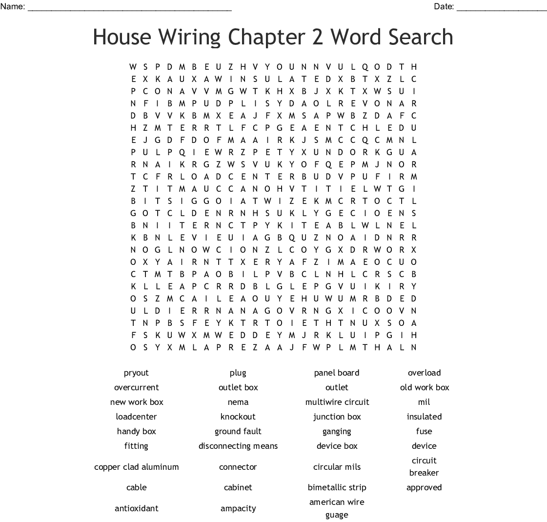 [SCHEMATICS_4UK]  House Wiring Chapter 2 Word Search - WordMint | House Wiring Description |  | WordMint