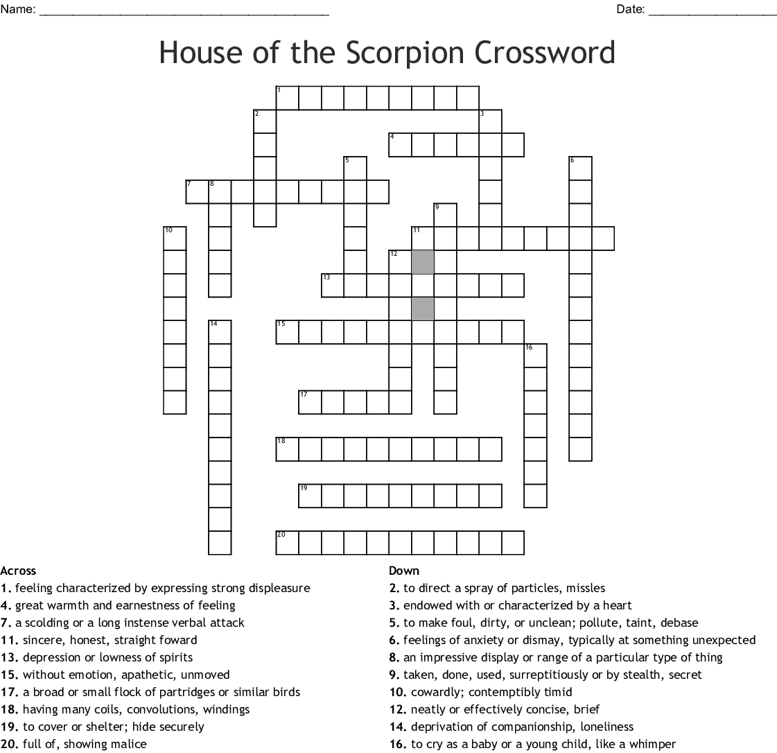 House Of The Scorpion Crossword Wordmint
