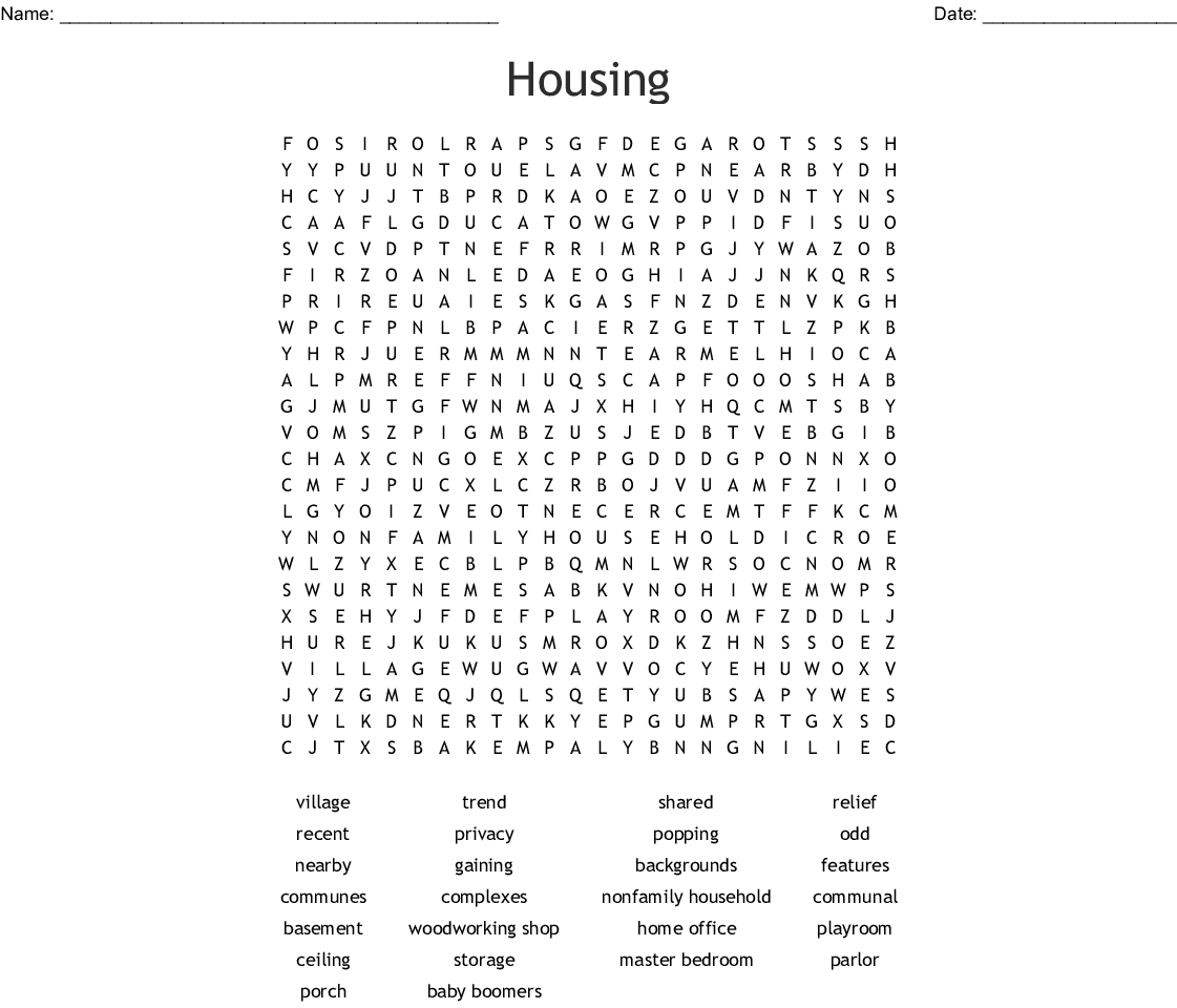 Where To Search For Apartments: Housing Word Search