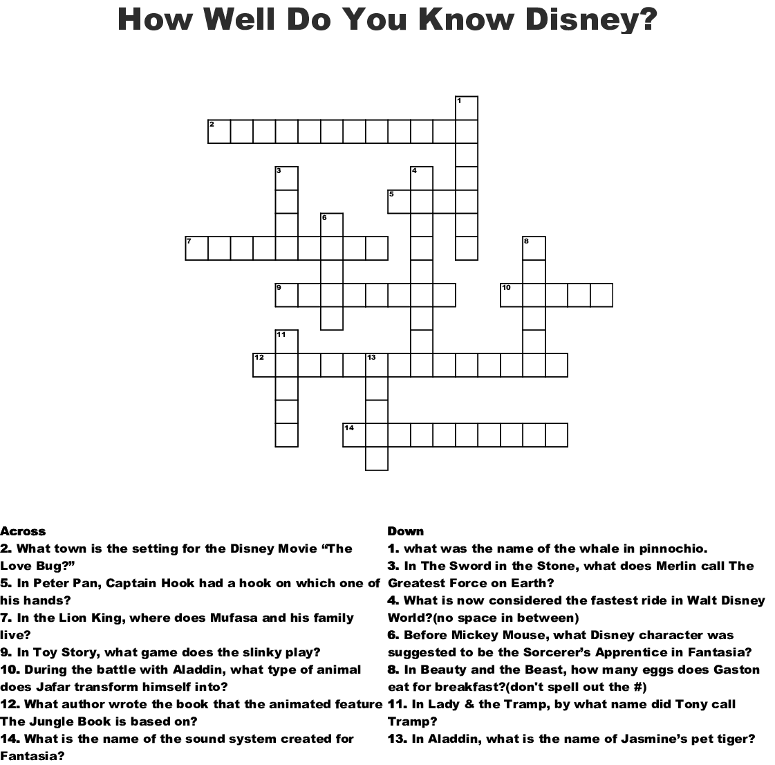 Disney Trivia Crossword - WordMint