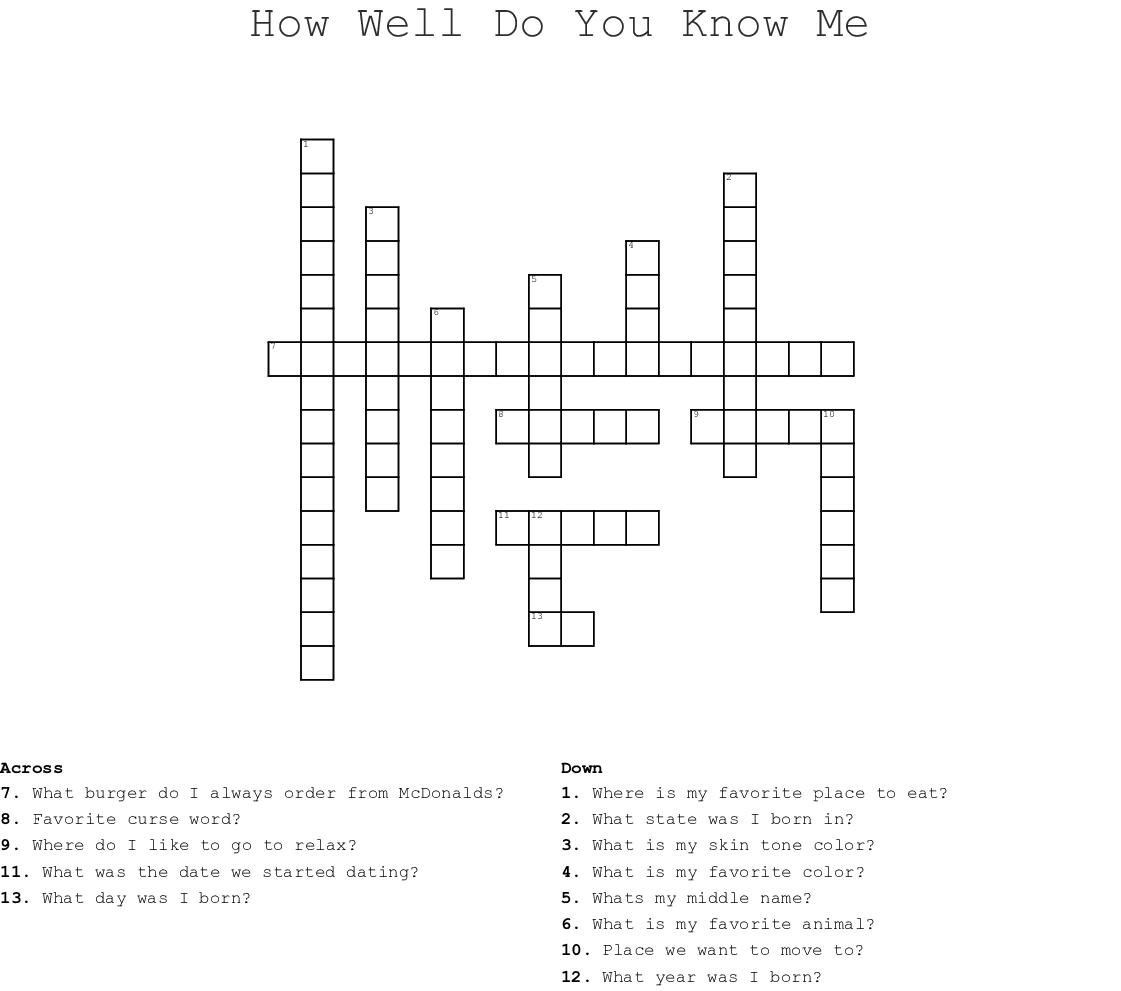 ABOUT ME Crossword - WordMint