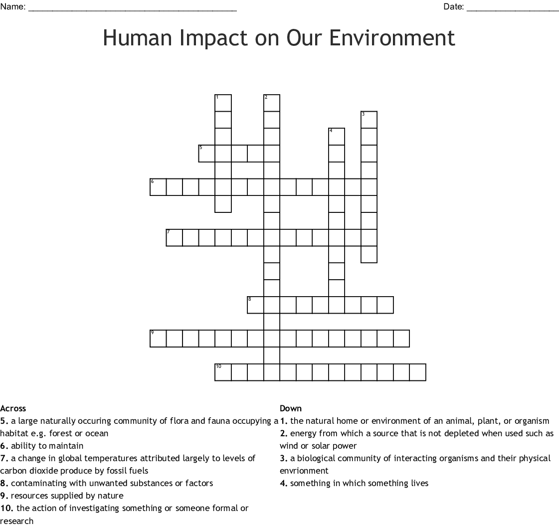 Human Impact On Our Environment Crossword Wordmint