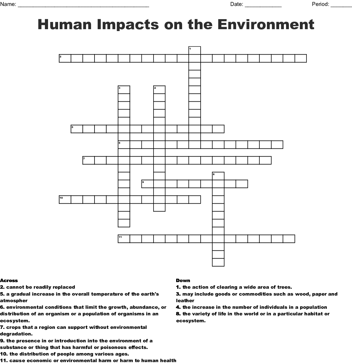 Human Impacts On The Environment Crossword Wordmint