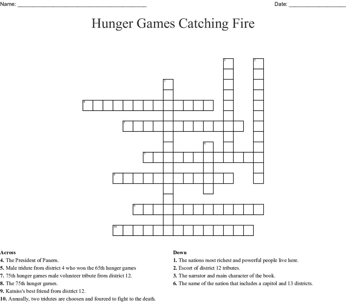 Hunger Games Catching Fire Crossword Wordmint
