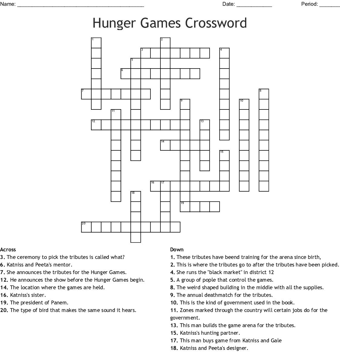 Hunger Games Crossword Wordmint