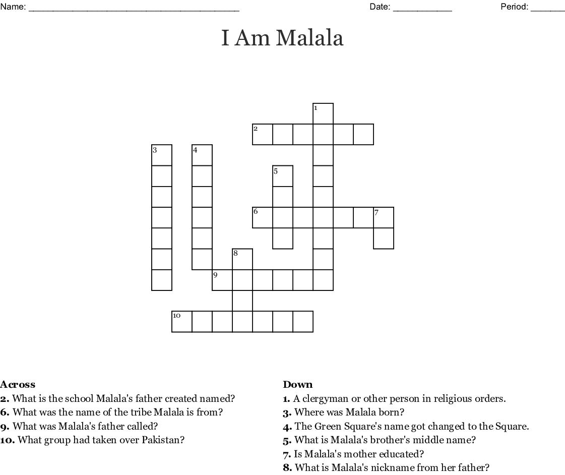 """I Am Malala"" Crossword Chapter 1-3 - WordMint"