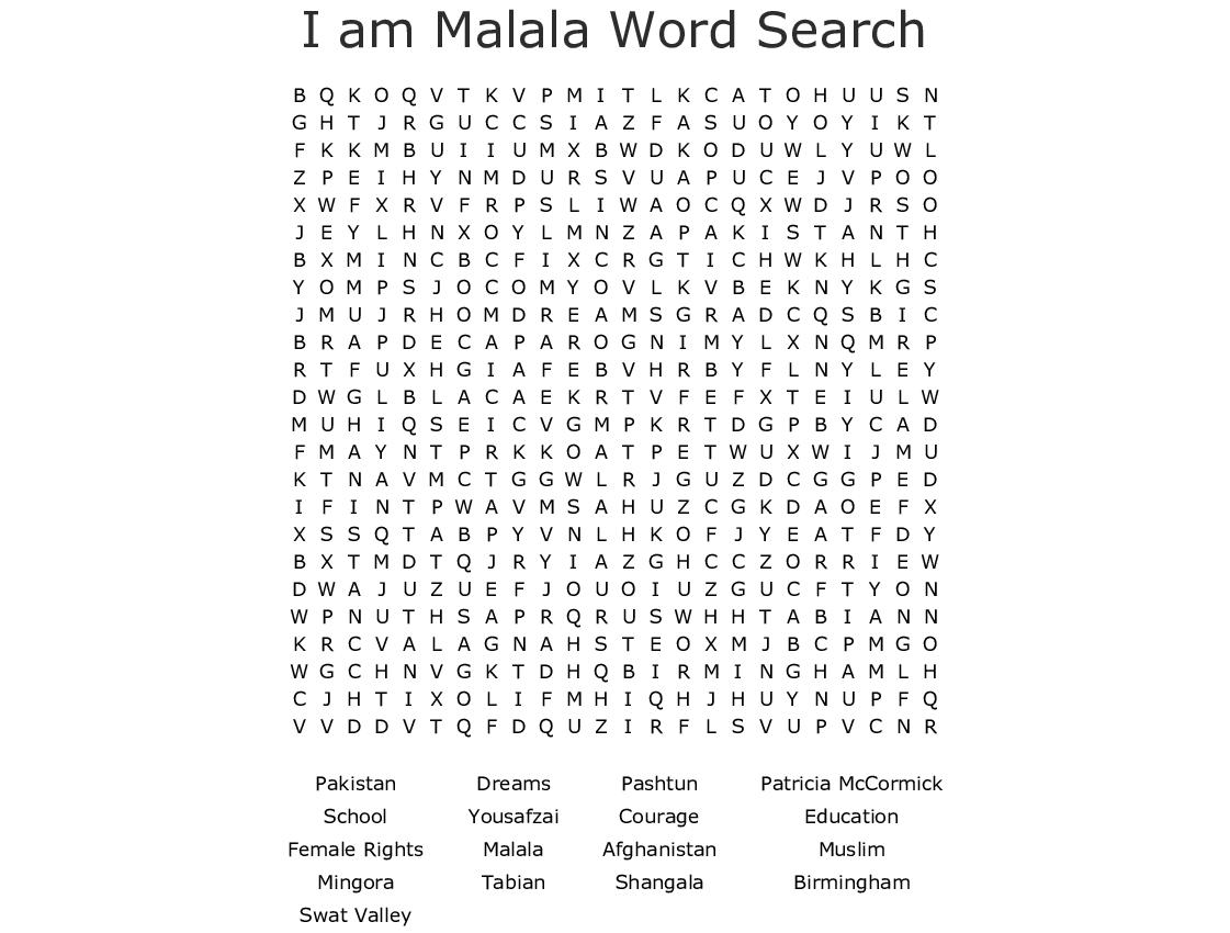 Malala Yousafzai Word Search - WordMint