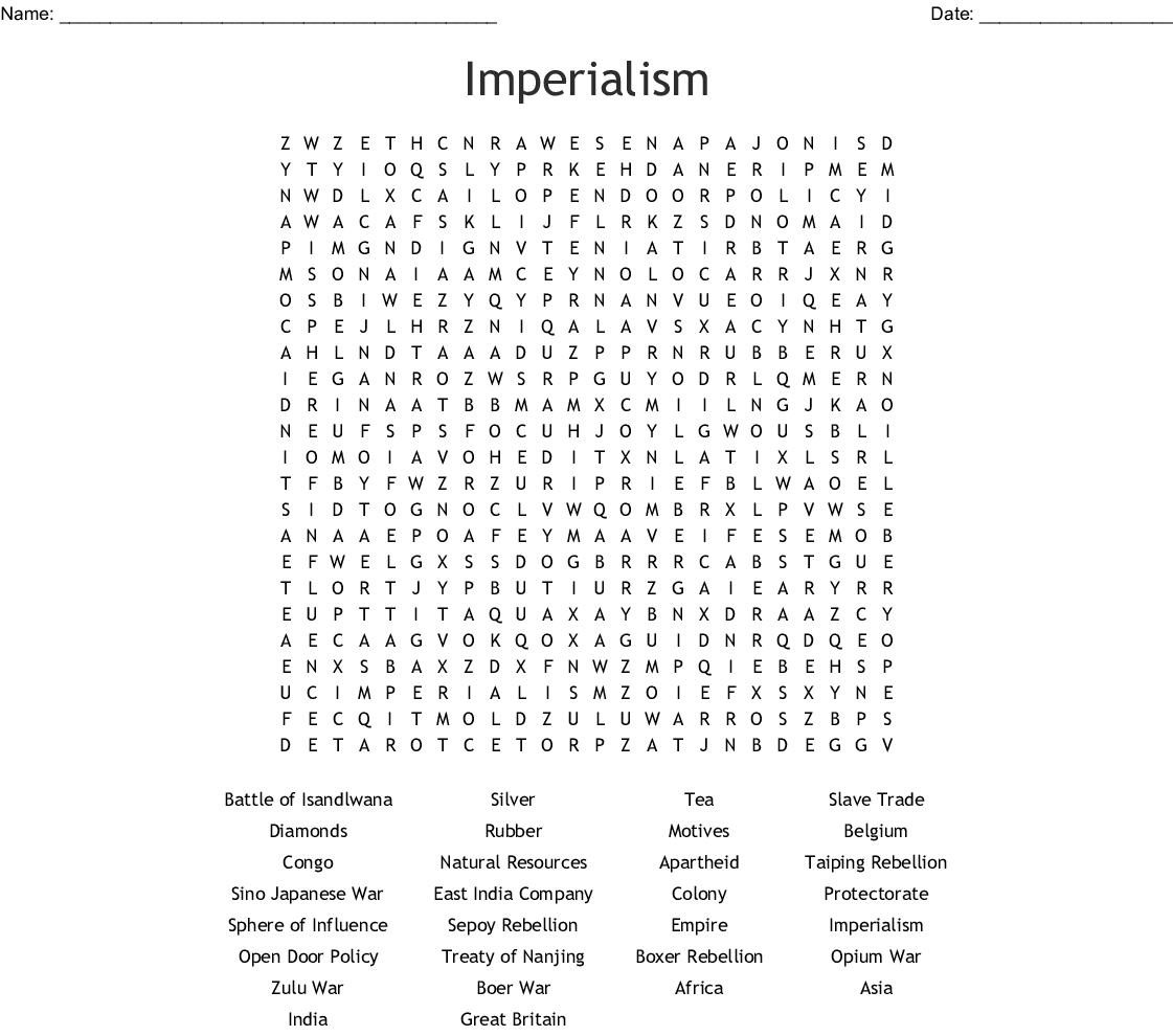 Imperialism Word Search - WordMint
