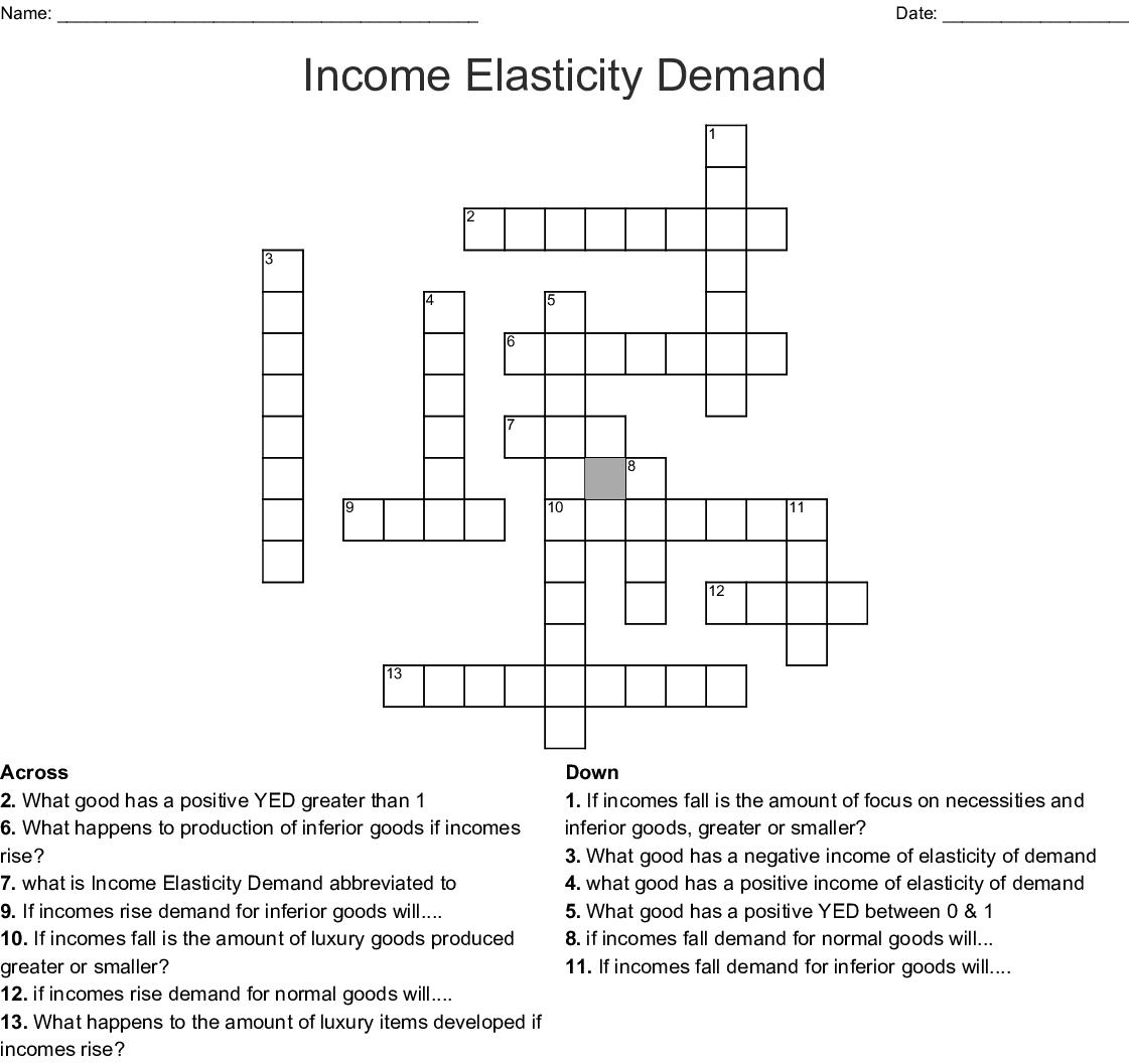 Income Elasticity Demand Crossword Wordmint