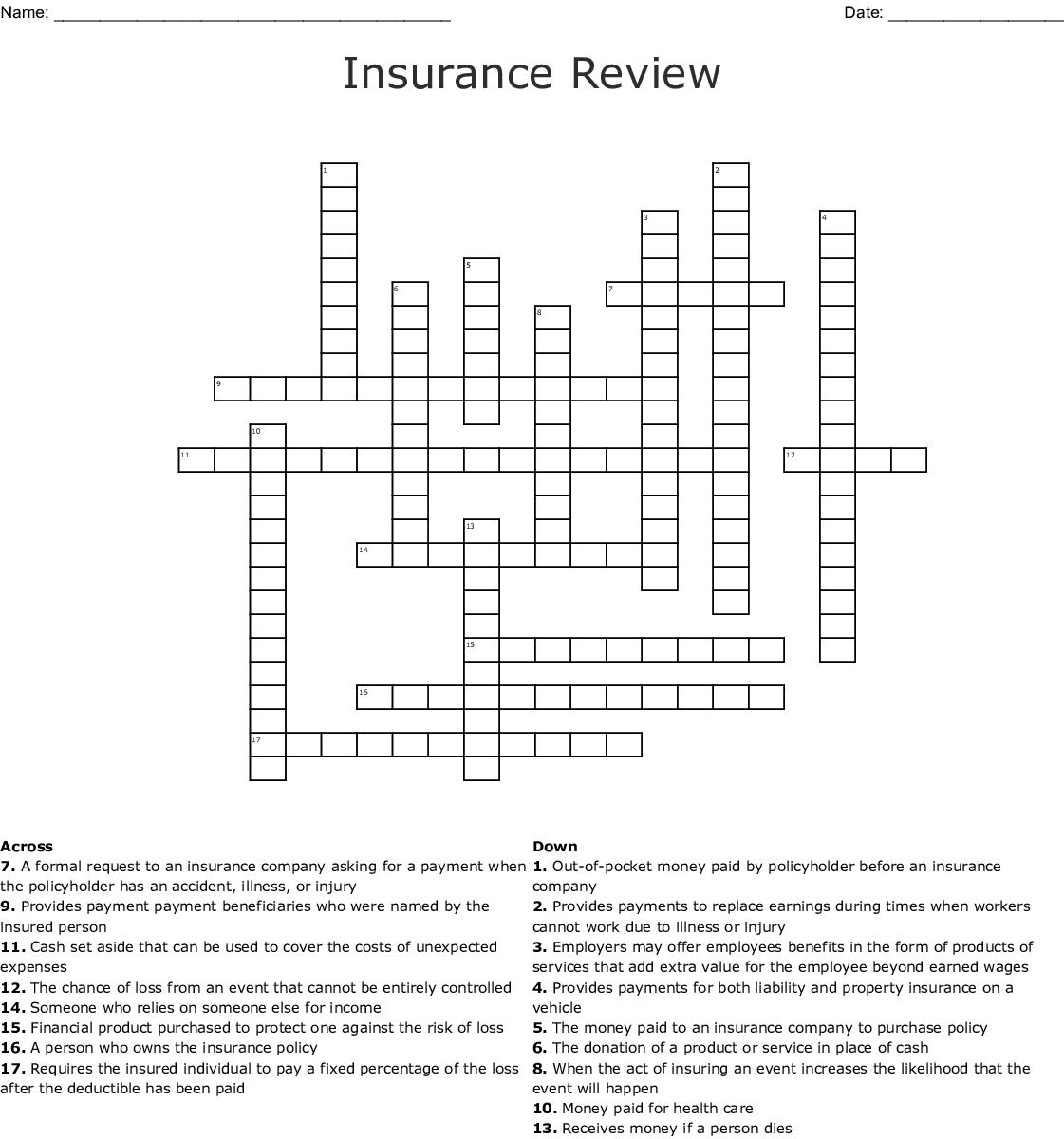 Insurance Review Crossword Wordmint