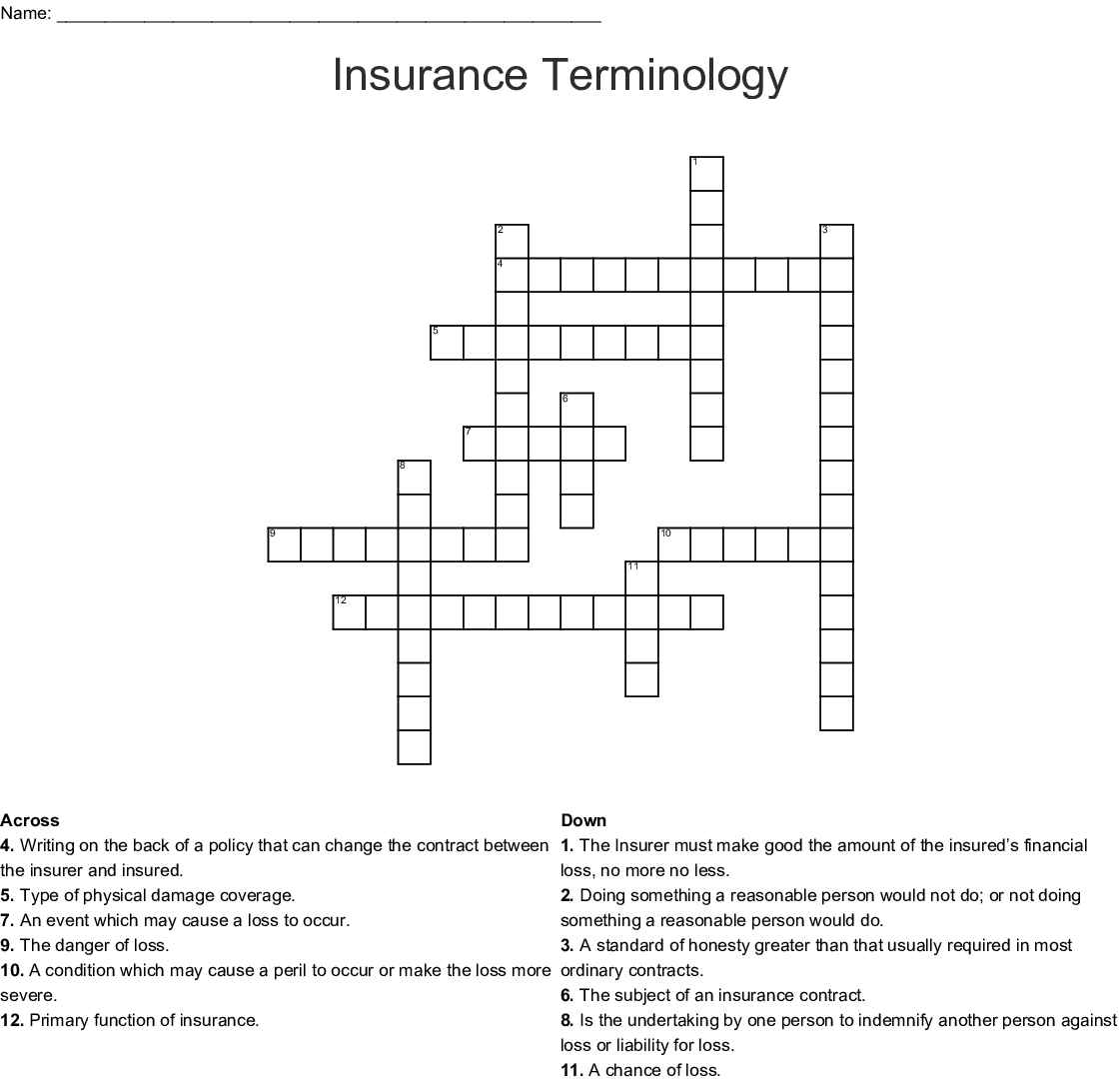 Insurance Crosswords Word Searches Bingo Cards Wordmint