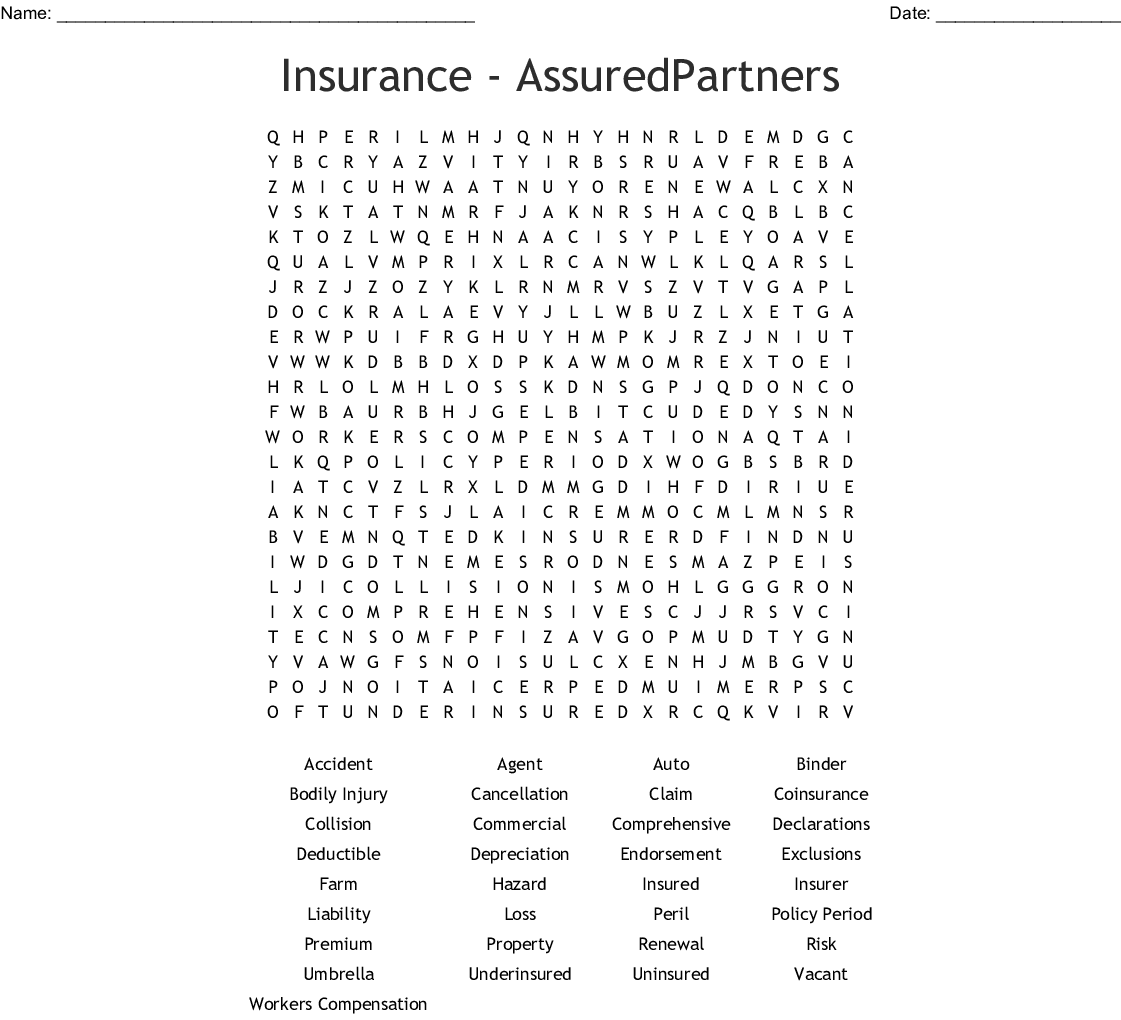 Insurance Crosswords, Word Searches, Bingo Cards - WordMint