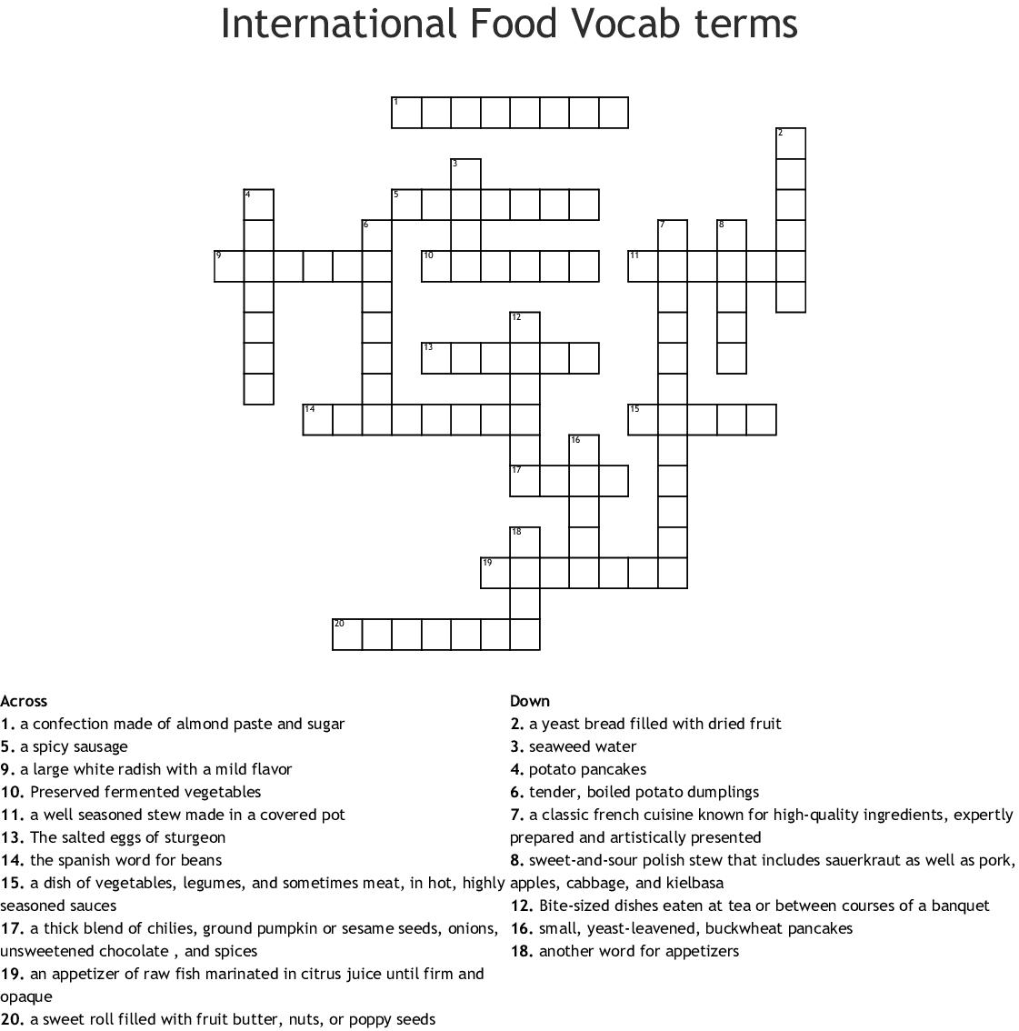 European Cuisine Crossword Wordmint