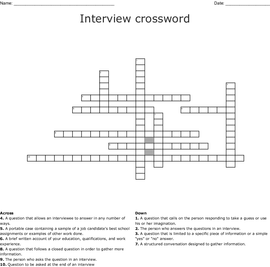 Job Interview Crossword - WordMint
