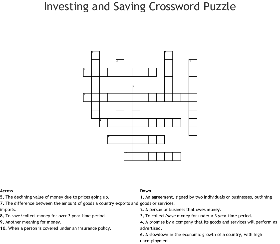 Investing And Saving Crossword Puzzle Wordmint