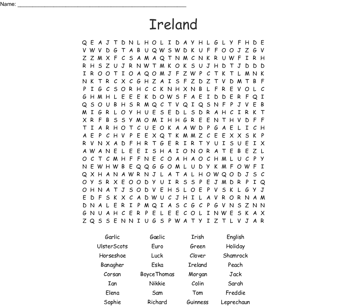 Irish Word Search Wordmint