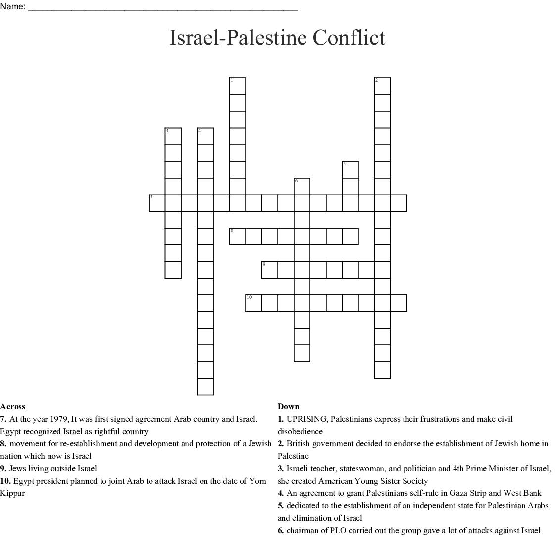Creation of Israel Crossword Puzzle - WordMint