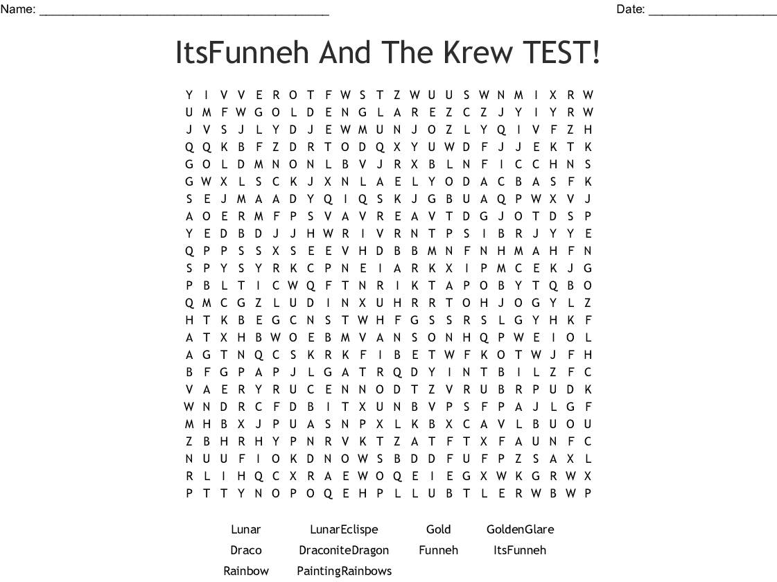 Itsfunneh And Krew Puzzle Crossword Wordmint